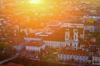 Photograph - Graz City Center Aerial View At Burning Sunset by Brch Photography