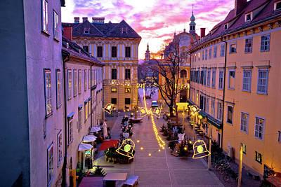 Photograph - Graz City Center Christmas Fair Sunset View by Brch Photography