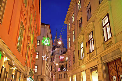 Photograph - Graz City Center Christmas Street Evening View by Brch Photography