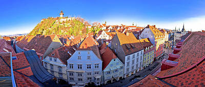 Photograph - Graz Cityscape And Schlossberg Panoramic View by Brch Photography