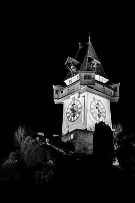 Photograph - Graz Clock Tower Bw by Ivan Slosar