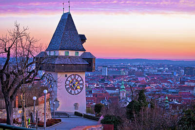 Photograph - Graz Landmark And Cityscape Dusk View From Schlossberg by Brch Photography