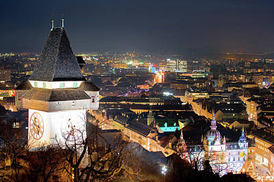 Photograph - Graz Landmark And Cityscape Evening View From Schlossberg by Brch Photography