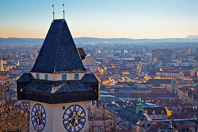 Photograph - Graz Landmark And Cityscape View From Schlossberg by Brch Photography