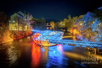 Photograph - Graz Murinsel At Night by JR Photography
