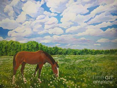 Grazing Among The Daisies Art Print by Stella Sherman