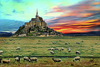 Tourist Attraction Digital Art - Grazing At Mont Saint Michel by Russ Harris