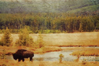 Yellowstone Mixed Media - Grazing Bison by KaFra Art