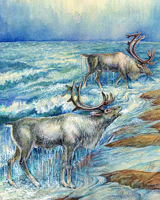 Grazing By The Water Art Print