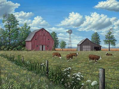 Wavra Wall Art - Painting - Grazing Cattle by Robert Wavra