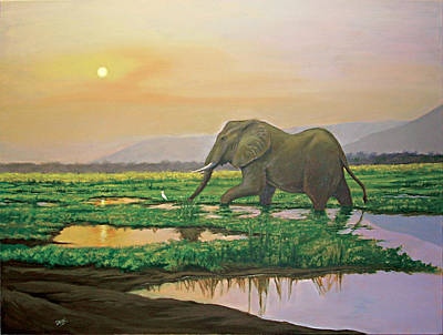 Painting - Grazing Elephant by Deon West