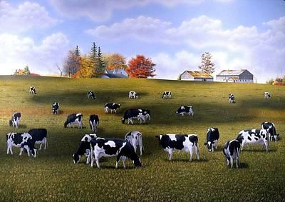 Grazing Holsteins Art Print by Conrad Mieschke
