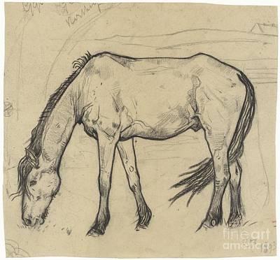 Grazing Painting - Grazing Horse In Noordwijk by Celestial Images