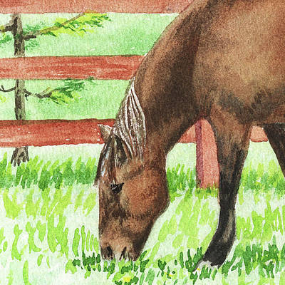 Painting - Grazing Horse Watercolor Pet Portrait by Irina Sztukowski