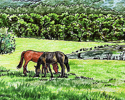 Painting - Grazing Horses At The Ranch Watercolor by Irina Sztukowski