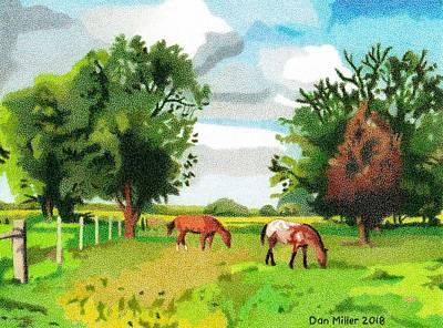 Drawing - Grazing Horses Nebraska by Dan Miller