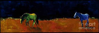 Abstract Equine Painting - Grazing In The Moonlight by Frances Marino