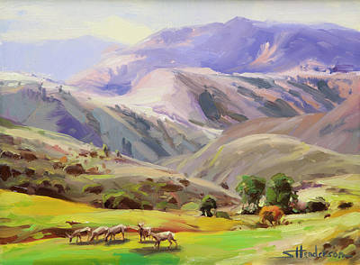 Hills Painting - Grazing In The Salmon River Mountains by Steve Henderson
