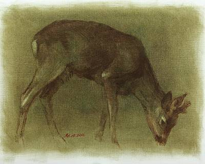 Painting - Grazing Roe Deer Oil Painting by Attila Meszlenyi