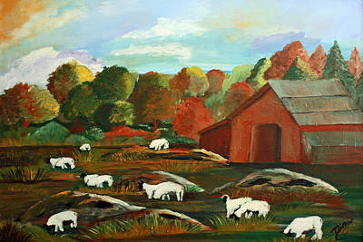 Painting - Grazing Sheep by Dina Jacobs
