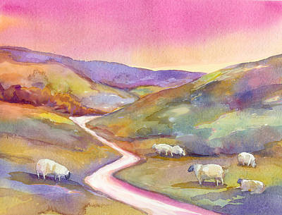 Miniature Watercolors Painting - Grazing Sheep by Peggy Wilson