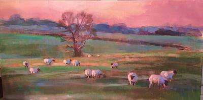 Painting - Grazing Sheep by Susan Bradbury