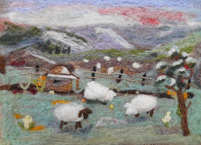 Tapestry - Textile - Grazing Woolies by Christine Lathrop