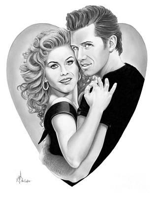 Drawing - Grease-julianne Hough-aaron Tveit by Murphy Elliott