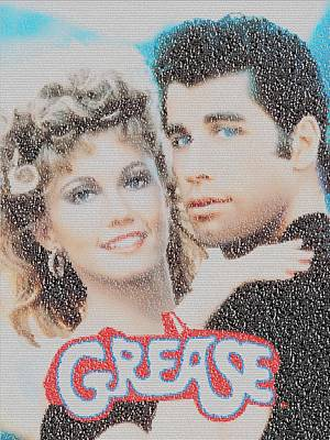 Painting - Grease Song List Mosaic by Paul Van Scott
