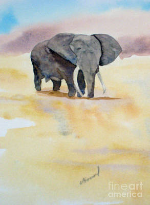 Art Print featuring the painting Great African Elephant  by Vicki  Housel