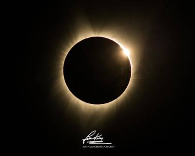 Photograph - Great American Eclipse Diamond Ring 5x7 As Seen In Albany, Oregon.  Signature Edition by John King