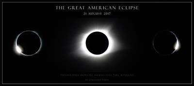 Photograph - Great American Eclipse - Triptych by Jonathan Sabin