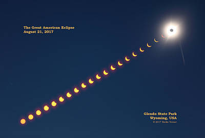 Total Eclipse Of The Sun Photograph - Great American Eclipse With Caption by Rocke Verser