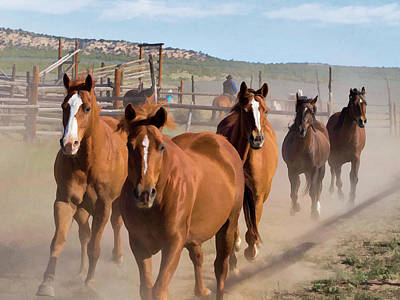 Digital Art - Great American Horse Drive - Coming Into The Corrals by Nadja Rider