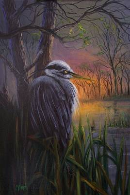 Great Blue Herron Painting - Great Blue At Sunset by Colleen Birch