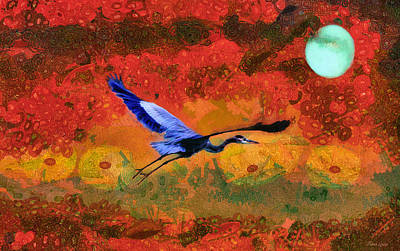 Photograph - Great Blue Heron And Moon Freedom by Anna Louise