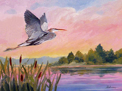 Painting - Great Blue Heron At Dawn by Janet Zeh