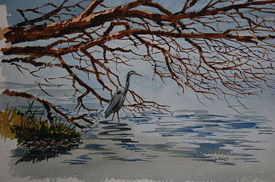 Lakefront Painting - Great Blue Heron by Bill Dinkins