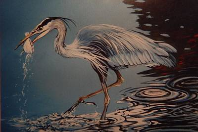 Flounder Painting - Great Blue Heron  by Catherine Robertson