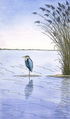 Mixed Media - Great Blue Heron by Charles Harden