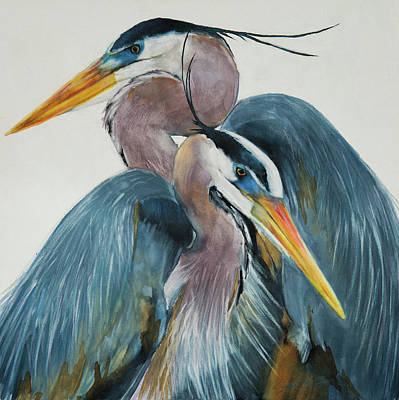Art Print featuring the mixed media Great Blue Heron Couple by Jani Freimann