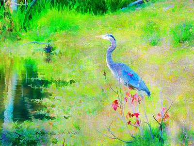 Digital Art - Great Blue Heron by Frank Bright