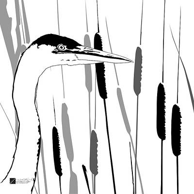 Digital Art - Great Blue Heron - Grayscale by Marcus England