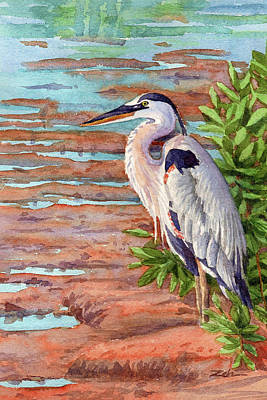 Painting - Great Blue Heron in a Marsh by Janet Zeh