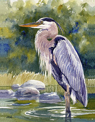 Painting - Great Blue Heron In A Stream by Janet Zeh