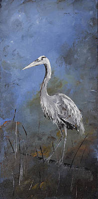 Great Blue Heron In Blue Original by Carolyn Doe