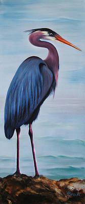 Stork Mixed Media - Great Blue Heron by Jean R Brown - J Brown