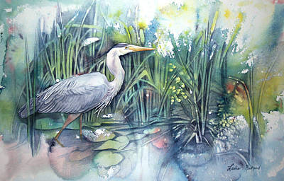 Poured Watercolours Painting - Great Blue Heron by Leslie Redhead