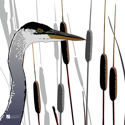 Digital Art - Great Blue Heron - Light Background by Marcus England
