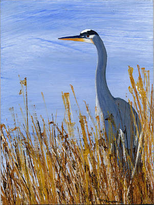 Painting - Great Blue Heron by Mary Elizabeth Thompson